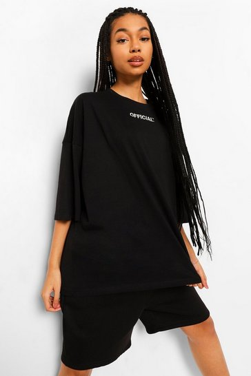 Black Oversized Slogan T-Shirt