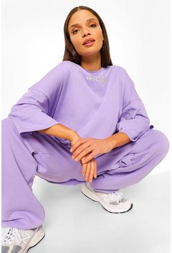 Lilac purple Oversized T-Shirt Met Tekst