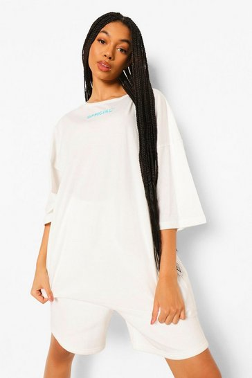 White Oversized Slogan T-Shirt