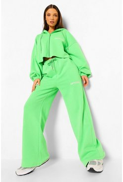 Bright green green Oversized Wide Leg Joggers