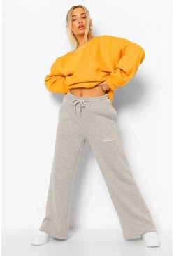 Grey marl grey Oversized Wide Leg Joggingbroek