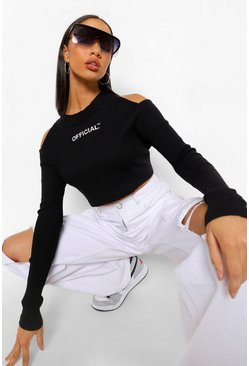 Black Cut Out Shoulder Rib Crop Top