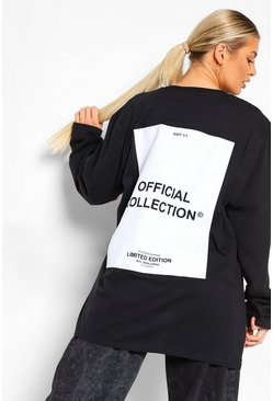 Back Print Oversized  Long Sleeve T Shirt , Black negro