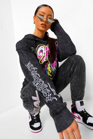Charcoal grey Oversized Acid Wash Graffiti Print Hoodie