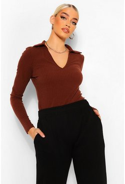 Chocolate brown Soft Rib Collared V Neck Top