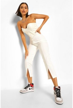 Ivory white Front Split Tailored Trousers With Zip Detail