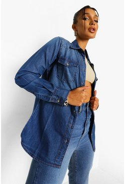 Mid blue blue Western Denim Shirt