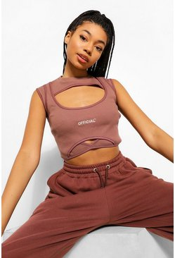 Chocolate brown Cut Out Rib Crop Top