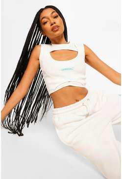 Cream white Cut Out Rib Crop Top