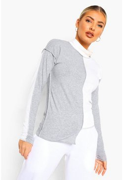 Grey Soft Rib Colour Block High Neck Top