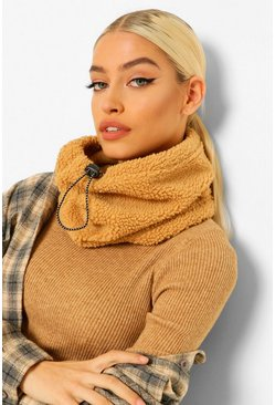 Borg Fleeced Snood With Adjustable Toggle , Camel beige