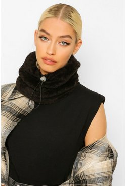 Black Reversible Nylon Borg Snood With Toggle
