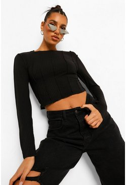 Black Soft Rib Seam Detail Crop Top