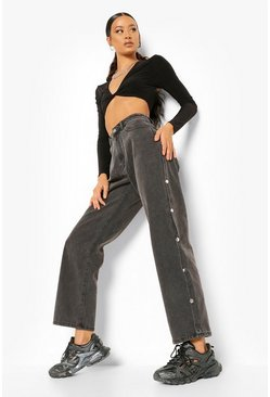 Washed black Popper Side Split Utility Wide Leg Jeans