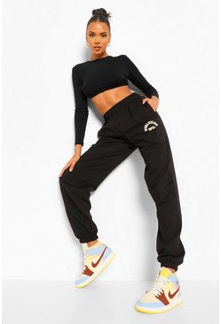 Black Loose Fit Embroidered Joggers
