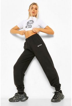 Black Loose Fit Ofcl Studio Embroidered Jogger