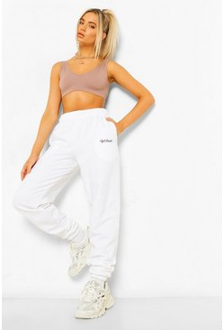 White Loose Fit Ofcl Studio Embroidered Jogger