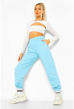 Turquoise blue Overdyed Loose Fit Official Embroidered Joggers