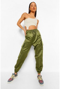 Dark olive green Satin Pocket Detail Cargo Trousers