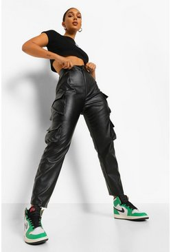 Black Leather Look Straight Leg Cargo Trousers