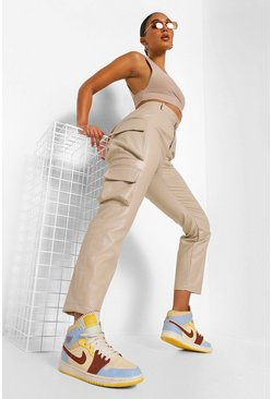Ecru white Leather Look Straight Leg Cargo Trousers