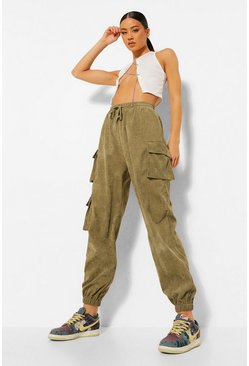 Olive green Cord Pocket Detail Cargo Trousers