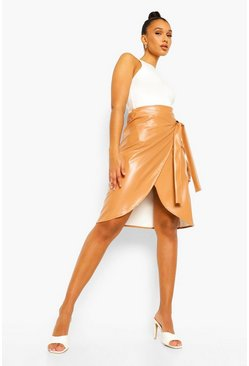 Spice orange Pu Faux Leather Wrap Tie Midi Skirt