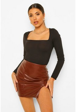 Pu Faux Leather Split Hem Mini Skirt, Chocolate braun