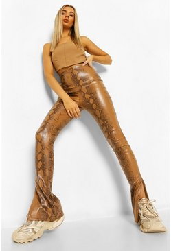 Tan Leather Look Snake Print Side Split Hem Trousers