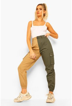 Khaki Colour Block Leg Woven Cargo Trousers