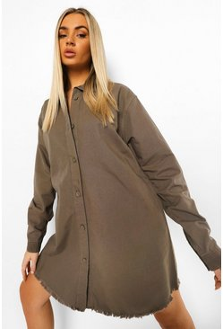 Khaki Fray Hem Oversized Shirt Dress