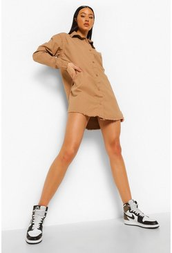Fray Hem Oversized Shirt Dress, Stone beige