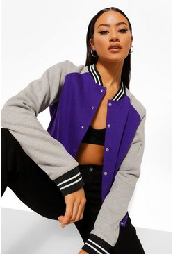 Purple Colourblock Varsity Bomber Jacket