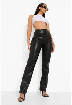 Black Cross Over Waist Premium Pu Pants