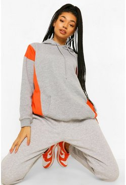 Grey marl grey Side Colour Block Oversized Hoodie