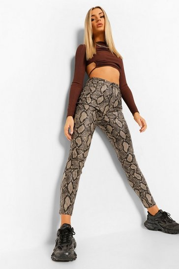 Sand beige Leather Look Snake Skinny Trouser