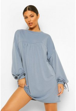 Blue Oversized Tie Cuff Shift Dress