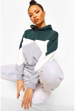 Emerald green Oversized Colourblock Pocket Hoodie