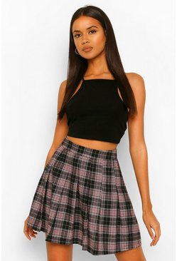 Black Woven Check Tennis Skirt