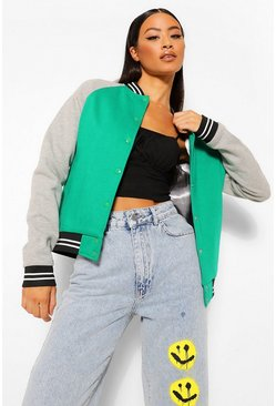 Green Colourblock Varsity Bomber Jacket