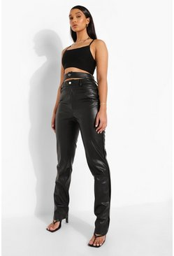 Black Cut Out Waist Premium Leather Look Trouser