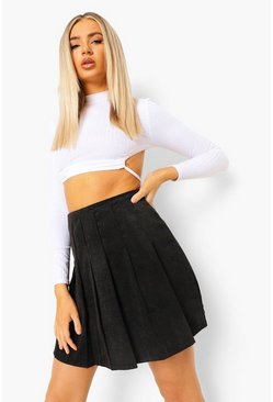 Black Cord Tennis Skirt