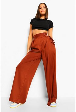 Chocolate brown Woven Cut Out Drawstring Waist Detail Trouser