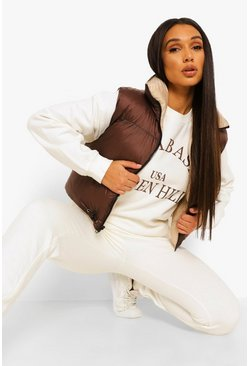 Chocolate brown Reversible Crop Padded Gilet