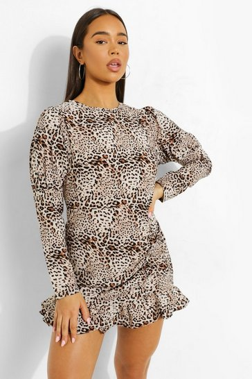 Brown Leopard Ruched Long Sleeve Tea Dress