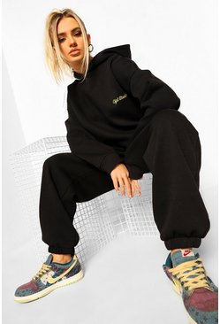 Black Oversized Ofcl Studio Embroidered Tracksuit