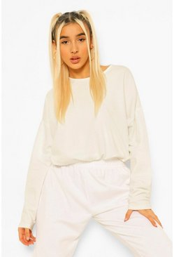Ivory white Loopback Batwing Toggle Detail Jumper