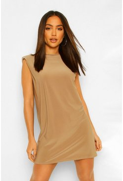 Mocha beige Shoulder Pad Open Back Shift Dress
