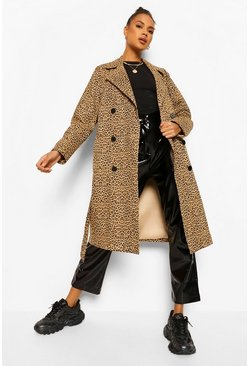 Brown Leopard Print Trench Coat