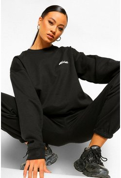 Black Official Back Print Sweater Tracksuit